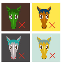 Set of flat icon silhouette of a horses head vector