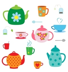 Set of teapots and cups vector