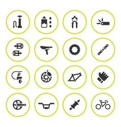 Set round icons of bicycle parts and accessories vector image