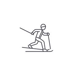 skiing person line icon sign vector image