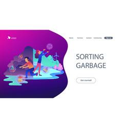 Sorting garbage landing page vector