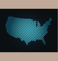 Striped map of usa united states of america blue vector
