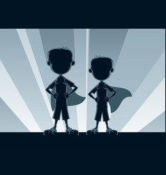 super boys silhouettes vector image