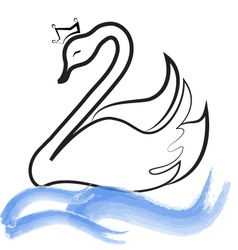 Swan with crown silhouette on lake vector image vector image