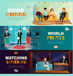 Talk show banners vector