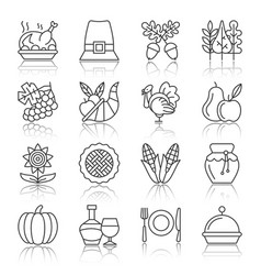 Thanksgiving day black thin line icon set vector
