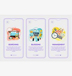 Trendy search blogging and management ui mobile vector