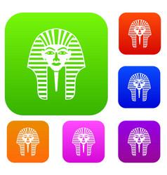 Tutankhamen mask set color collection vector
