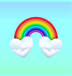 two heart clouds with rainbow on blue background vector image