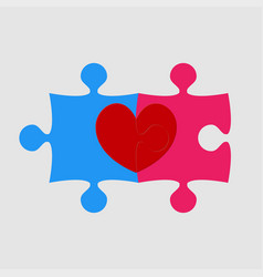 Two pieces puzzle of romantic heart wedding vector