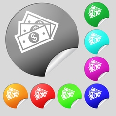 Us dollar icon sign Set of eight multi colored vector image