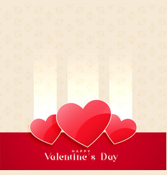 valentines day shiny hearts background vector image
