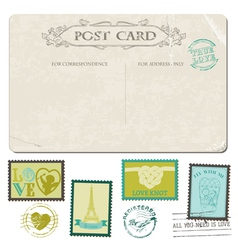 Vintage Postcard and Postage Stamps vector