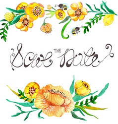 Watercolor yellow and green flowers and bee vector