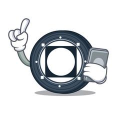 With phone byteball bytes coin character cartoon vector