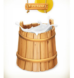 Wooden bucket Milk Rustic style Natural dairy vector