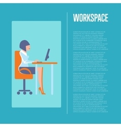 Workspace banner with business woman vector image