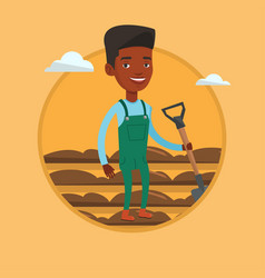 farmer with shovel at field vector image