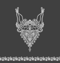 floral neckline and lace border design for fashion vector image vector image