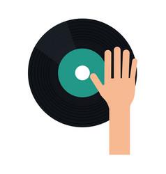 hand dj playing vinyl vector image