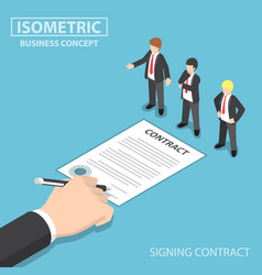 isometric hand signing contract in front of ceo vector image
