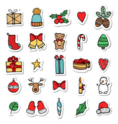 set of xmas hand draw stickers icons cartoon and vector image vector image