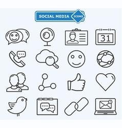 social media and network lines icons vector image vector image