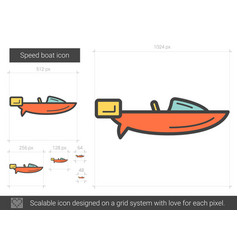 Speed boat line icon vector