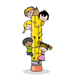children climbing up a pencil vector image