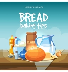 Food baking ingredients background vector image