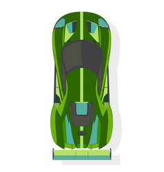 Green sport car top view in flat style isolated vector