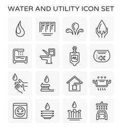 Line icon of water usage and utility vector