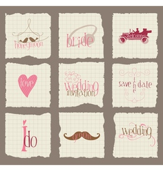 paper love and wedding design elements -for invita vector image vector image