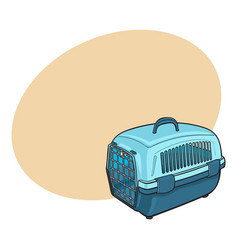 plastic pet travel carrier for transporting cats vector image
