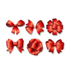 Red ribbons set for gifts vector