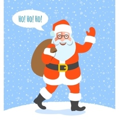 Santa Claus with Christmas gifts goes to kids vector image