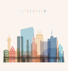 stockholm skyline detailed silhouette vector image vector image