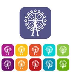 ferris wheel icons set vector image vector image