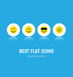 flat icon gesture set of happy joy smile and vector image vector image