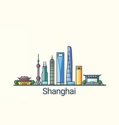 flat line shanghai banner vector image vector image