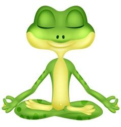 Frog cartoon doing yoga vector image vector image