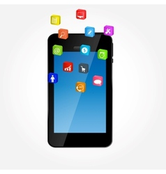 Mobile phone with icons ilustration vector image vector image