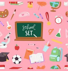 school supplies symbols seamless pattern vector image