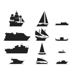Ship and boats silhouette vector image vector image