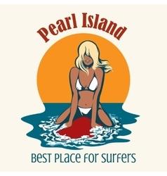 Surfer girl emblem vector image