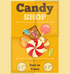 19 candy shop yellow vector image