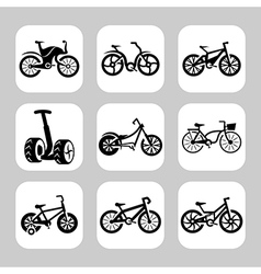 bicycles icon set vector image vector image