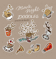 collection of hand drawn fast food objects vector image