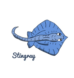 Cute cartoon stingray vector image vector image