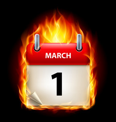 first march in calendar burning icon on black vector image vector image